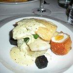 Smoked haddock with egg and black pudding