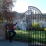 At the gate of the Powers Mansion