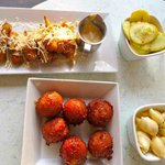 Fried okra(excellent), lobster hushpuppies, squash, mac n cheese