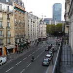 View down rue des Ecoles from balcony