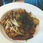 Seafood linguini with very meaty mushrooms
