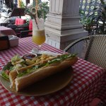 Roasted chicken on baguette with pineapple shake