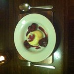 Amazing vanilla panama cotta sticky red wine plums