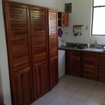 Closet and small kitchen area with hotplate