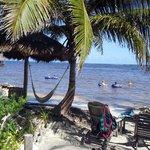 Hammocks, chairs, beach and fun.