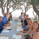 Dinner under the trees with yoga group Aliki Yoga School