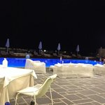 restaurant/pool area by night
