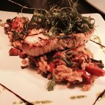 swordfish on risotto with crispy rocket