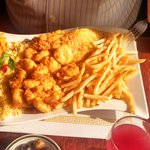 Seafood Platter with Flounder, Scallops and Shrimp