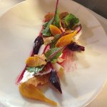Beetroot, goat curd, olives
