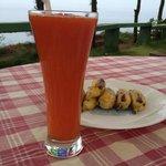Water melon juice and bananas