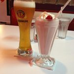 "Erdinger Crystal Beer, and ""I love strawberries"" Milkshake"