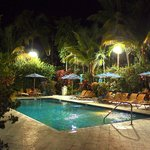 One of the pools at night