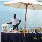 Beach bar right on the water. Very nice staff also