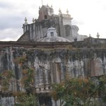 View of the cathedral ruins from rooftop terrace