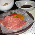 夕食の和牛の溶岩焼