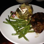 NY strip with loaded baked potato and green beans