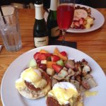 Crab cake Benedict from the brunch menu