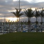 the marina view with sunset