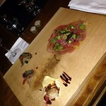 Seafood appetizers - carpaccio , shrimp, sashimi