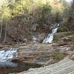 The base of the falls; please stay on the trails, and no swimming.