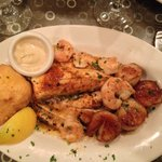 Broiled seafood platter.