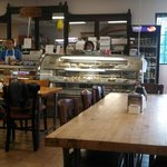 Nice tables and bakery items.....