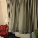 Curtains too long; blow up with AC/Heat is on. No privacy, no blackout.