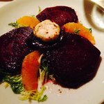 Roasted Beets, Orange, Greens, Goat Cheese Salad.
