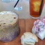 Clam chowder, lobster roll in housemade mayo