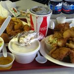 Seafood platter, chicken strips, slaw, chowder.
