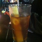 Iced tea with sugar cane
