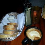 Fresh bread w/Rosemary butter & a cafe latte.  Yum