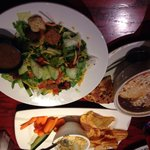 French onion soup & salad, plus hummus plate appetizer
