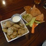 Fried pickles, of course, and hummus with veggies