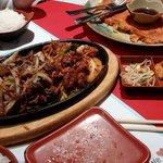 Bulgogi and BBQ pork. Kimchi pancake. Excellent!