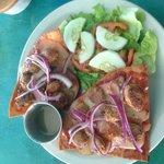 Italian Sausage Mexican Pizza w/ a side salad and house vinaigrette......