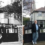 A photo of young John Lennon in front of his Aunt Mimi's house and a pic of me in the same setti