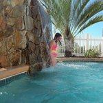 My daughter enjoying the hot tub