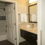 Separate sink and stool/shower areas