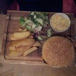 chicken burger and chips