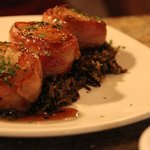 Pan-seared Scallops on a bed of Wild Rice