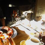 Most delicious cooked breakfast by the fire