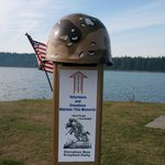 veterans helmet put upon the donation box during 2011 Veterans day