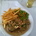 Steak with Nuts, Gorgonzola and Porcini