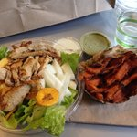 Jamaican jerk chick'n salad and sweet potato fries
