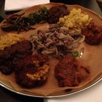 Vegetarian Platter, Chicken Wot, Key Wot (beef) and Lega Tibs (lamb).