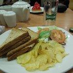 Brown bread tuna toasties - with crisps and side salad.