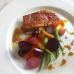 Pan fried red snapper with roasted beets... Delish.