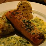 Salmon steak as main course